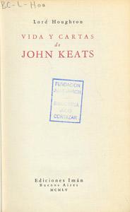 Front Cover : Vida y cartas de John Keats