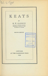 Front Cover : Keats