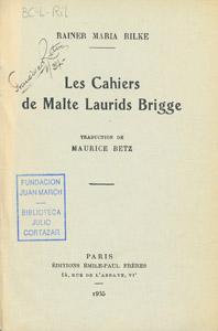 Front Cover : Les cahiers de Malte Laurids Brigge