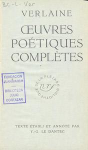 Cubierta de la obra : Oeuvres poétiques complètes