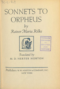 Front Cover : Sonnets to Orpheus
