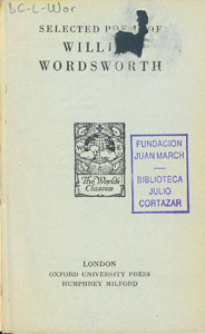 Front Cover : Selected poems of William Wordsworth