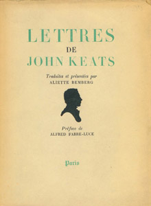 Front Cover : Lettres de John Keats