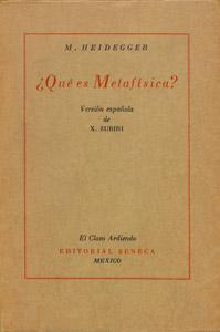 Front Cover : Qué es Metafísica?