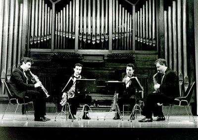 Joaquín Franco Pallás, Ángel Molina Mafe, Julio Gascón Vengut y José Grau Grau. Concierto Músicas para viento
