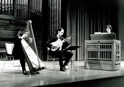 Presentación Ríos, Nuria Llopis y Juan Carlos de Mulder. Concierto Música para tecla, arpa y vihuela