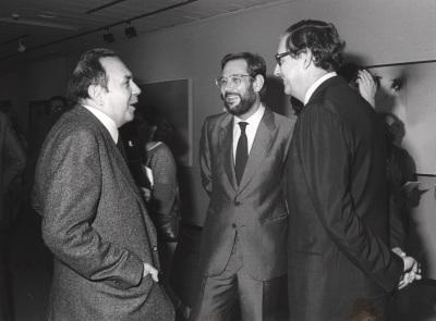Gustavo Torner de la Fuente, Javier Solana y Juan March Delgado. Exposición Fernando Zóbel