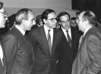 José Luis Yuste Grijalba, Alfonso Guerra, José Bono y Gustavo Torner de la Fuente. Exposición Antológica de Zóbel