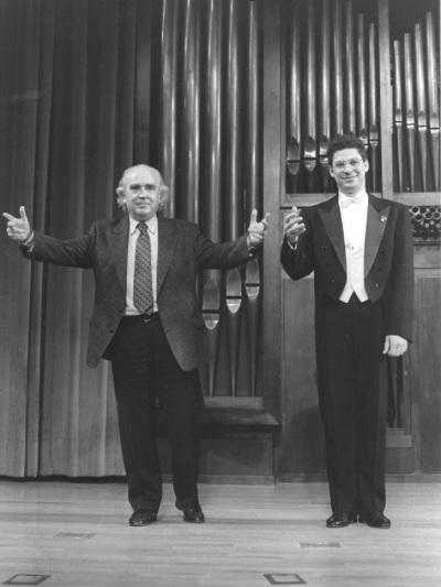 Antón García Abril y el pianista Leonel Morales. Concierto Antón García Abril. Integral de la obra para piano - Aula de (Re)estrenos (31)