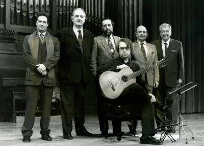 Gabriel Estarellas, Juan Manuel Ruiz, Tomás Marco, Carlos Cruz de Castro, Claudio Prieto y Agustín Bertomeu. Concierto Estreno de Seis Rapsodias para guitarra - Aula de (Re)estrenos (42)