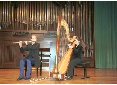 Manuela Vos, Beatriz Millán y Dúo Vos-Millán. Concierto Música española contemporánea para flauta y arpa - Aula de (Re)estrenos (49)