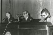 Antonio Buero Vallejo, Eugenio de Bustos y Luis Iglesias Feijoo en el ciclo Literatura Viva, 1975