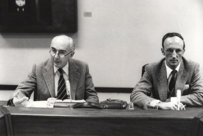 Francesco Capotorti y Eloy Ruiloba Santana. Conferencia sobre Libertad de circulación de mercancías y reglas de competencia dentro del ciclo Cuatro lecciones sobre derecho comunitario