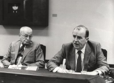 Massimo Severo Giannini y Sebastián Martín Retortillo en el Seminario sobre Autonomías Territoriales