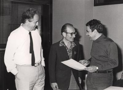 Francisco García Olmedo, Cesar Milstein y Juan Antonio Subirana. Reunión consejo Científico