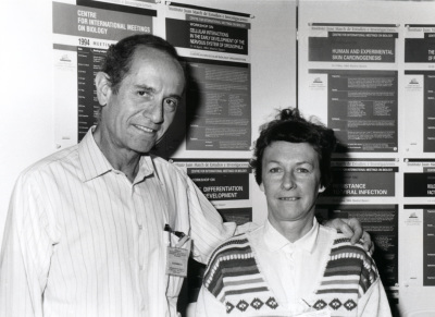 Joan Modolell y Pat Simpson. Workshop Cellular interactions in early development of the nervous system of drosophila