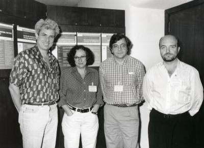 Michael Karin, Pilar Santisteban, Roberto Di Lauro y José Luis Castrillo. Workshop Selective Gene Activation by cell Tuye Specific Transcription Factors