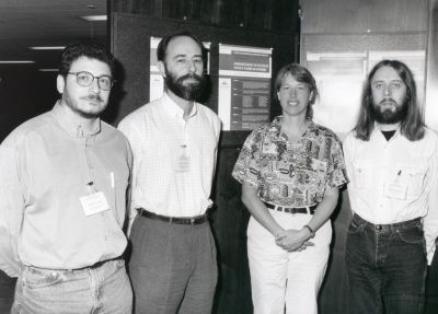Fernando Azorín, Alfredo Villasante, Barbara Trask y Chris Tyler Smith. Workshop Chromosome Behaviour the Structure and Function of Telomeres and Centromeres
