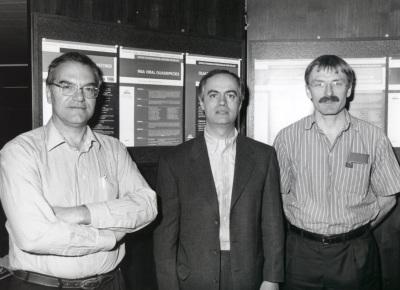 Esteban Domingo, Cecilio López-Galíndez y Simón Wain Hobson. Workshop R.N.A. Viral Quasispecies