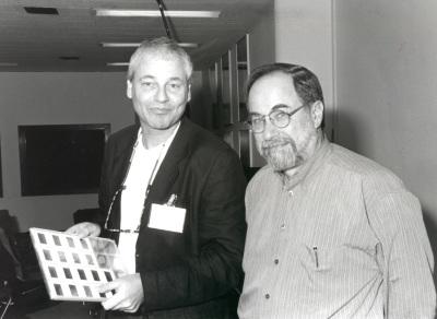 Jaap Gondsmit y David Baltimore. Seminario Vacuna contra el SIDA