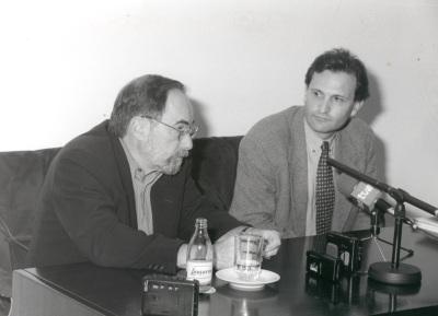 David Baltimore y Carlos Martínez Alonso. Seminario Vacuna contra el SIDA (Rueda de Prensa)