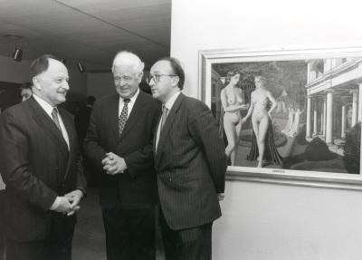 Willian Anción, Henning Wegener y Miguel Ángel Cortés. Exposición Paul Delvaux