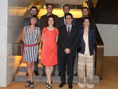 Gonzalo Rivero Rodríguez, Patricia Pesquera Menéndez, Carlos González Sancho y Iván Blanco Modino. Entrega diplomas de Maestros y Doctores del CEACS