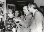 Maruja Guerrero, Amelia de la Torre, Antonio Buero Vallejo y José Luis Yuste Grijalba en el acto homenaje a los donantes de la Biblioteca de Teatro, 1981