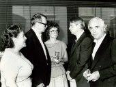 Cristóbal Halffter, Antón García Abril y otras personas. Exposición del Centro de Documentación de la Música Española Contemporánea, 1983