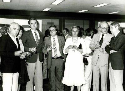 Antón García Abril, Tomás Marco, Cristóbal Halffter y otras personas. Exposición del Centro de Documentación de la Música Española Contemporánea