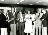 Antón García Abril, Tomás Marco, Cristóbal Halffter y otras personas. Exposición del Centro de Documentación de la Música Española Contemporánea, 1983