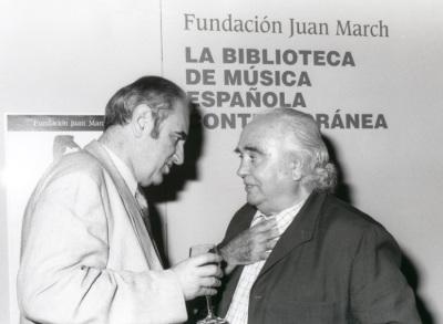 Tomás Marco y Antón García Abril en la presentación del Libro-Catálogo de la Biblioteca de Música Española Contemporánea