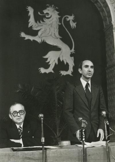 Manuel Alvar y José Luis Yuste Grijalba. Presentación del volumen Aragón, de la colección Tierras de España