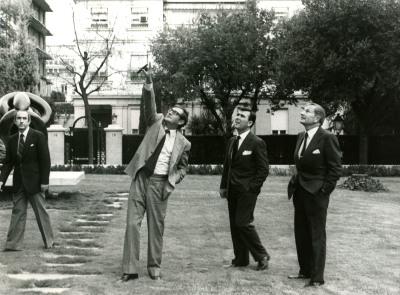 Juan March Delgado, José Luis Yuste Grijalba y David Rockefeller. Visita de David Rockefeller a la Fundación Juan March