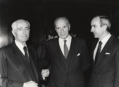 Diego Angulo, Justino Azcárate y José Luis Yuste Grijalba. Presentación del libro sobre Murillo