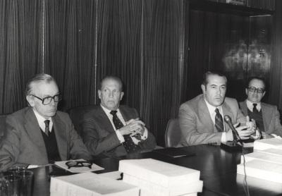 José María Jover Zamora, Antonio Rumeu de Armas, Manuel Espadas Burgos e Hipólito Escolar. Presentación del libro Corpus Documental de Carlos V