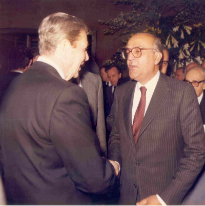 Ronald Reagan y Leopoldo Calvo Sotelo. Visita de Ronald Reagan a la Fundación Juan March