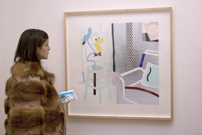 Vista parcial. Exposición Lichtenstein, en proceso