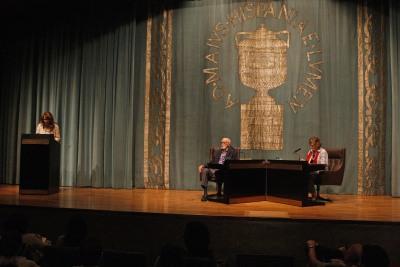 Lucía Franco, José Luis Sampedro y Olga Lucas. José Luis Sampedro en diálogo con Olga Lucas