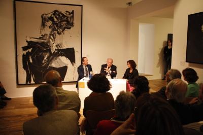 Manuel Fontán del Junco, Eduardo Arroyo y Olivia María Rubio. Exposición Eduardo Arroyo: Retratos y Retratos