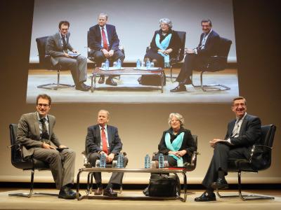Íñigo Alfonso, David Reher, María-Ángeles Durán y Antonio San José. En conferencia sobre Envejecimiento - Envejecimiento