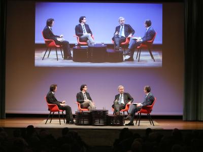 Íñigo Alfonso, José Ignacio Torreblanca Payá, José María de Areilza y Antonio San José. En conferencia sobre Europa, presente y futuro