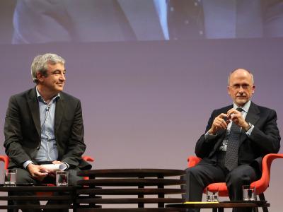 Luis Garicano y Óscar Fanjul. En conferencia sobre La crisis a los dos lados del Atlántico: la solución de EE.UU. y la de Alemania (Europa)