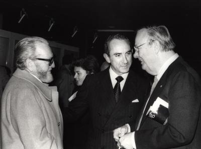 Pablo Serrano, José Luis Yuste Grijalba y Robert Motherwell. Exposición Robert Motherwell