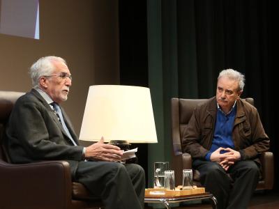 Luis Mateo Díez y Manuel Longares. En conferencia sobre Manuel Longares en diálogo con Luis Mateo Díez