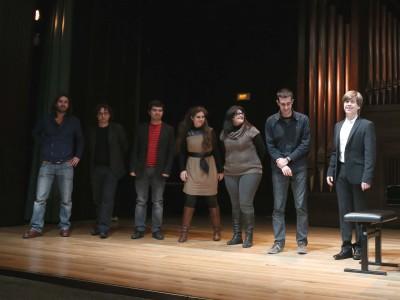 José Minguillón, Jesús Navarro, Mario Carro, Raquel Rodríguez, Nuria Núñez, Joan Magrané y Mario Prisuelos. Concierto Compositores Sub-35 - Aula de (Re)estrenos (86)