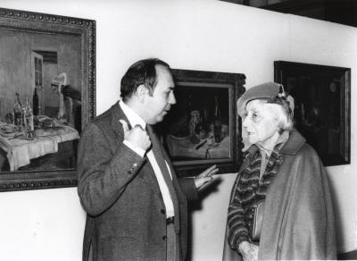 Gustavo Torner de la Fuente y Marguerite Duthuit, hija de H. Matisse. Exposición Henri Matisse Óleos, dibujos, gouaches découpées, esculturas y libros