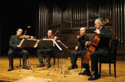 Cuarteto Mozarteum, Markus Tomasi, Géza Rhomberg, Milan Radic y Marcus Pouget. Concierto Haydn versus Pleyel, Londres 1792 - La lucha por el aplauso. Medio siglo de duelos musicales