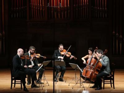 Cuarteto Quiroga, Aitor Hevia, Cibrán Sierra, Josep Puchades, Helena Poggio y Richard Lester. Concierto Gaetano Brunetti, músico de corte