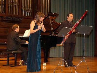 Juana Guillem, Enrique Abargues y Aníbal Bañados. Concierto La flauta en trío